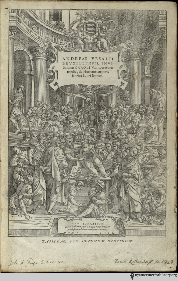 The frontispiece to the 1555 Fabrica in our collection. Click to enlarge.