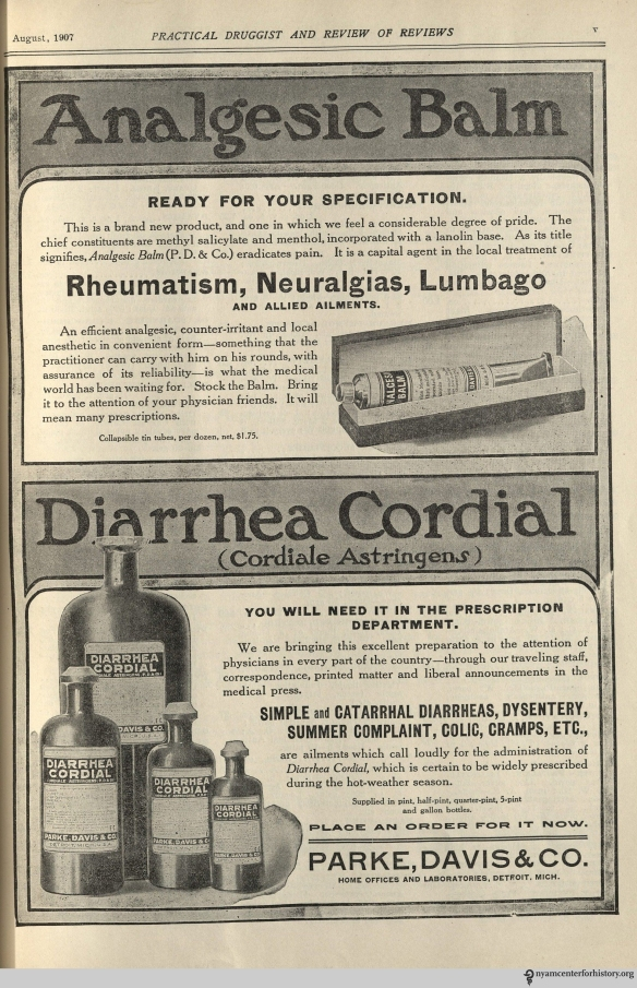 Ad published in The Practical Druggist, volume 22, number 2, August 1907.