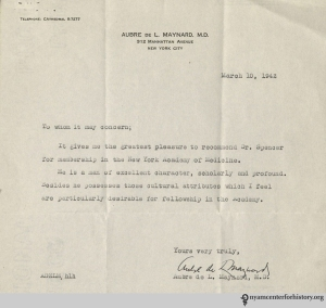 Dr. Aubre De L. Maynard's recommendation letter of Dr. Spencer.