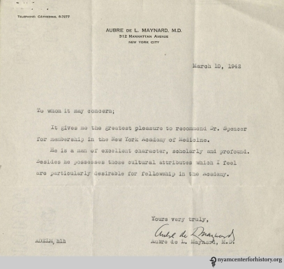 Dr. Aubre De L. Maynard's recommendation letter of Dr. Spencer.