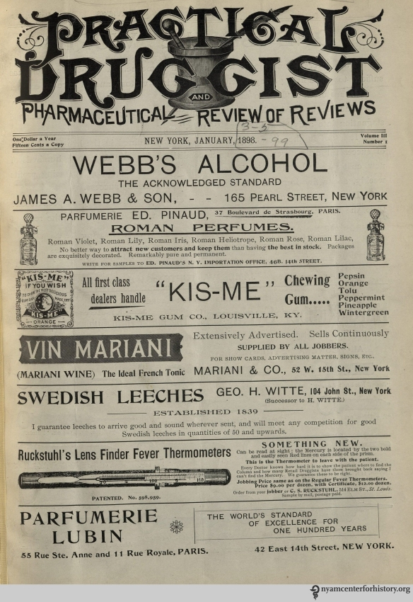 The cover of The Practical Druggist and Review of Reviews, volume 3, number 1, January 1898.