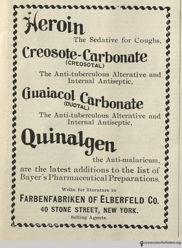 Ad published in The Practical Druggist  and Review of Reviews, volume 5, number 5, May 1899.