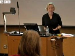 MK Czerwiec teaching at Northwestern Feinberg Medical School. Still from BBC story by Katie Watson.