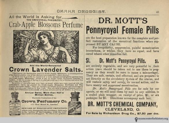 Ad published in Omaha Druggist, volume 7, number 4, April 1894.