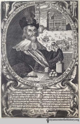 Georg Faber von Rottenman. Engraving by Bernard Strauss. Von Rottenman was a maker of pills in Ratisbon ca. 1648. Click to enlarge.