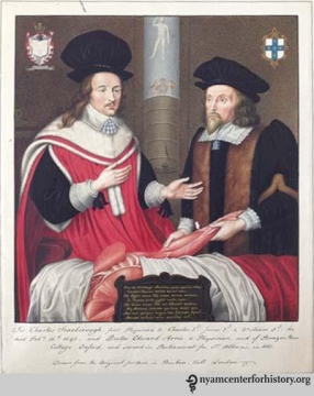 English Physicians Charles Scarborough and Edward Arris performing an anatomical dissection in 1651. After an original watercolor by G.P. Harding. Click to enlarge.