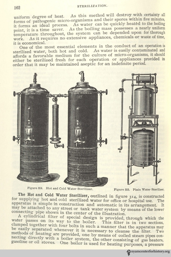 Sterilizers. From Charles Truax's The Mechanics of Surgery, ed. James M. Edmonson (1899; reprint ed., San Francisco: Norman Publishing, 1988). Click to enlarge.