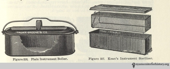 Thermal sterilization. From Charles Truax's The Mechanics of Surgery, ed. James M. Edmonson (1899; reprint ed., San Francisco: Norman Publishing, 1988). Click to enlarge.
