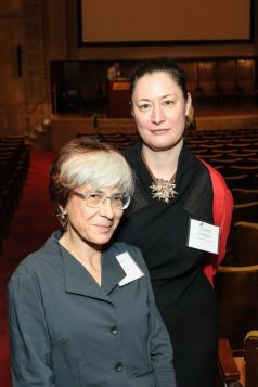 Riva Lehrer, left, with Lisa O'Sullivan, director of the Center for the History of Medicine and Public Health. Photo by Charles Manley.