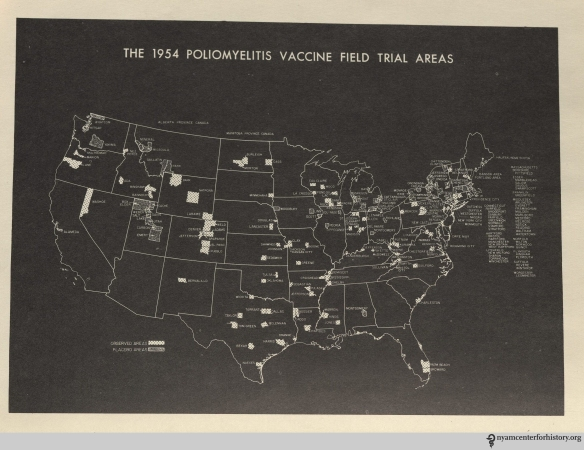 """The 1954 Poliomyelitis Vaccine Field Trial Areas."" In Evaluation of the 1954 field trial of poliomyelitis vaccine: Final report. Click to enlarge."
