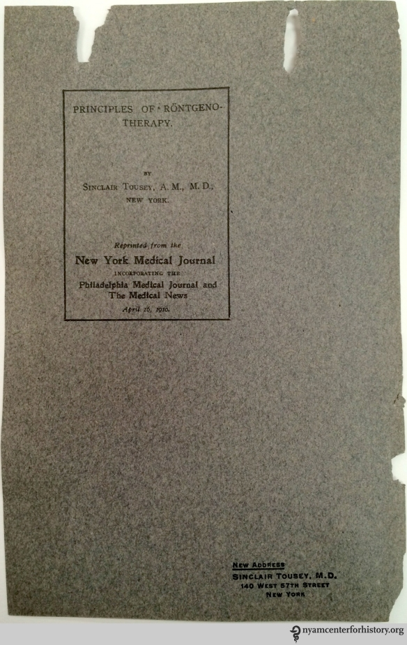 Example of pamphlet cover Mr. Place reused as a support for his bookplates.