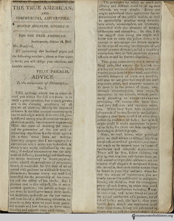 "The back of a clipping in Clippings from ""The True American"" and manuscript notes, circa 1802"