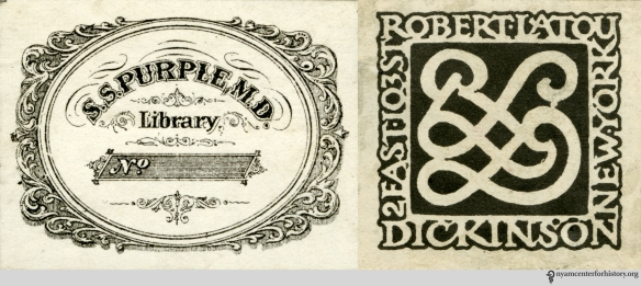Ornamental name labels of (left) Samuel Smith Purple, MD and (right) Robert Latou Dickinson, MD.