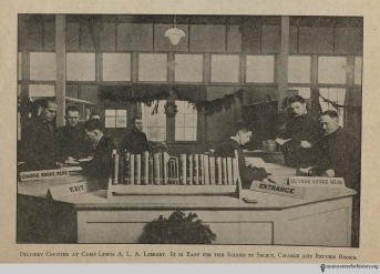 """Delivery counter at Camp Lewis A. L. A. library."" From War Library Bulletin, volume 1, number 4, January 1918."