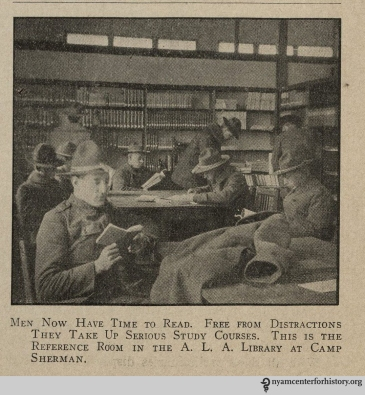"""Men now have time to read."" From War Library Bulletin, volume 1, number 4, January 1918."