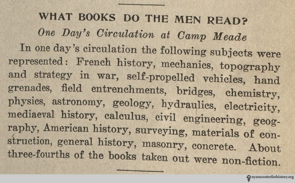 """What books do the men read?"" From War Library Bulletin, volume 1, number 4, January 1918."