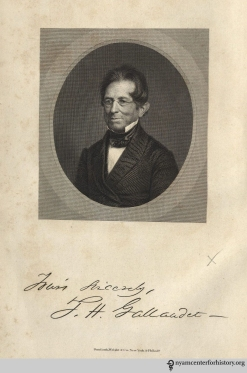 Thomas Hopkins Gallaudet, n.d., in Henry Barnard, Tribute to Gallaudet. (Hartford: Brockett & Hutchinson, 1852), frontispiece.