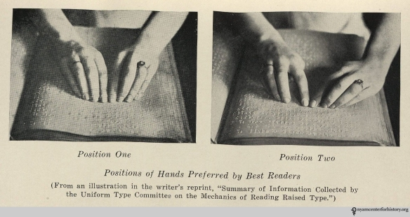 """Position of Hand preferred by Best Readers,"" in Kathryn E. Maxfield, The Blind Child and his Reading, opposite p. 54."