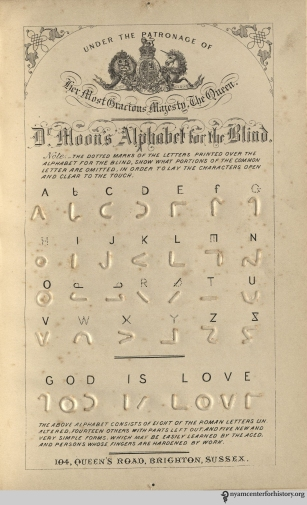 A competing English system of encoding text for the blind, using symbols close to legible letters. In William Moon, Light for the Blind, 1879, opposite page 66. Click to enlarge.