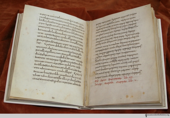 9th-century manuscript De re culininaria (sometimes De re coquinaria), attributed to Apicius.