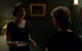 Mary Crawley hands Anna Bates a book by Marie Stopes in Downton Abbey.