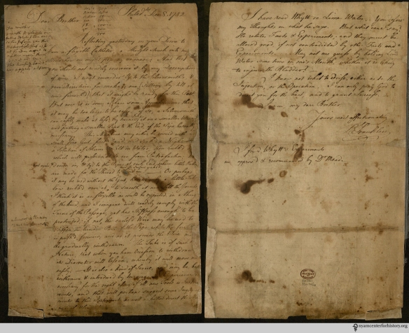 Front and back of Franklin's December 8, 1752 letter to his brother John. Click to enlarge.