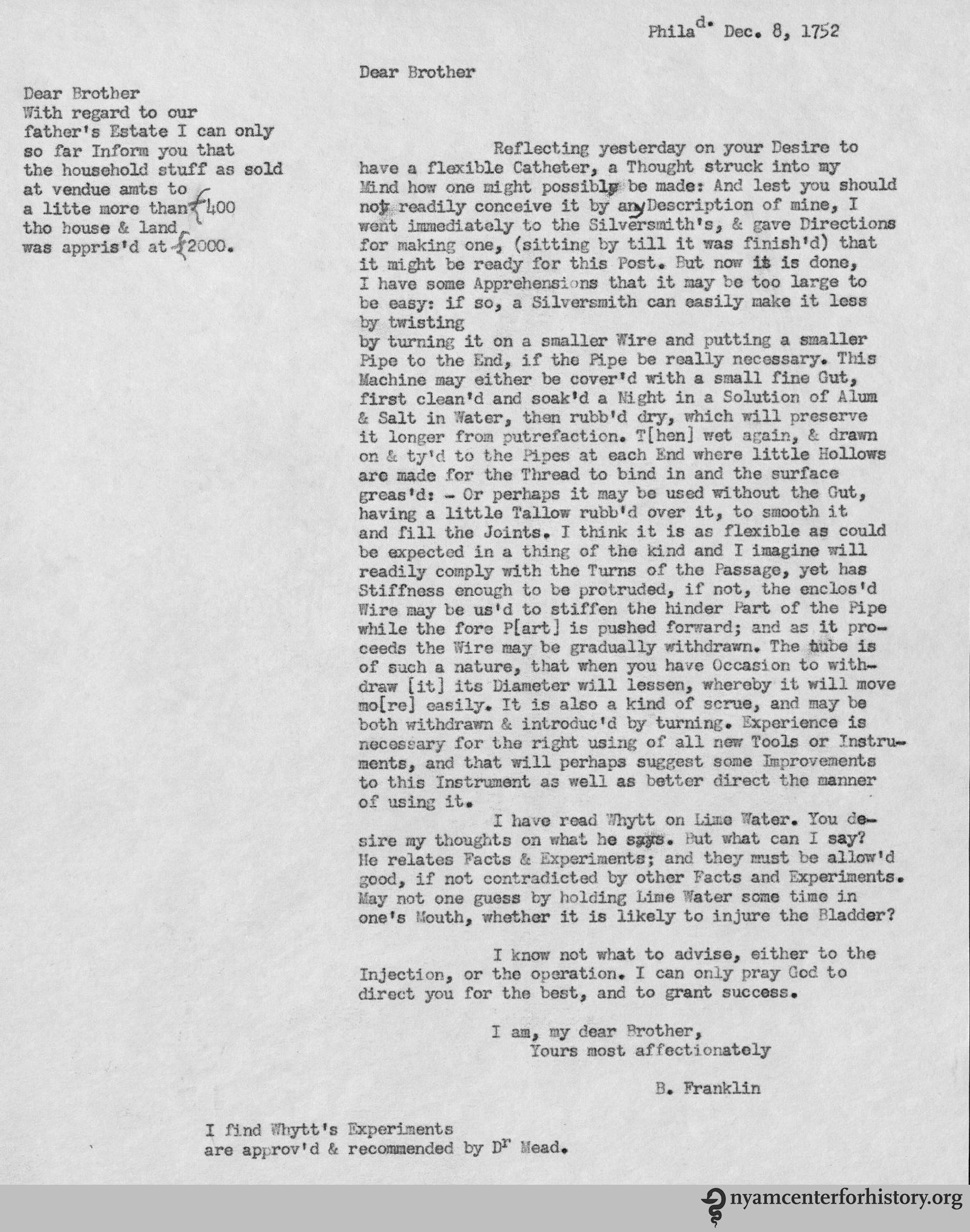Transcription Of Franklin's Letter Click To Enlarge