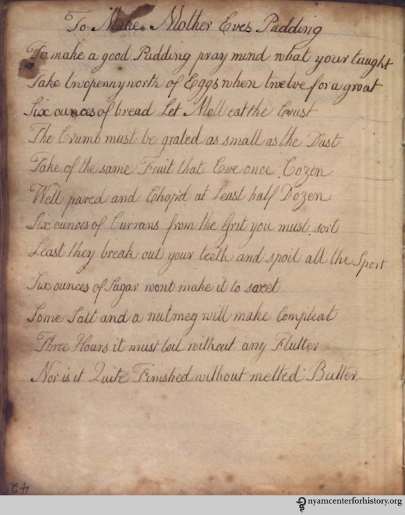 A recipe in verse for Mother Eve's Pudding, late 18th-century.