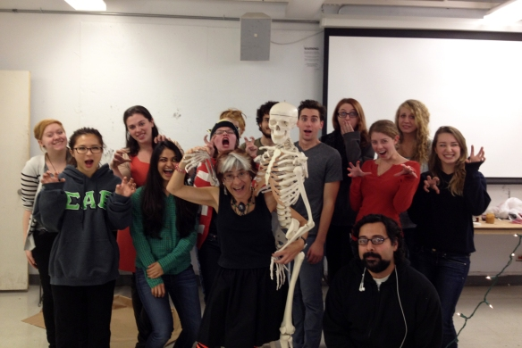 Riva Lehrer with students at SAIC in 2012.