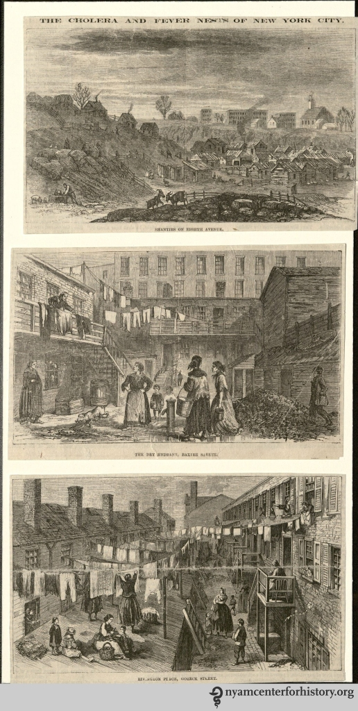 """The Cholera and Fever Nests of New York City."" Illustrations from the Healy Collection. 1866."