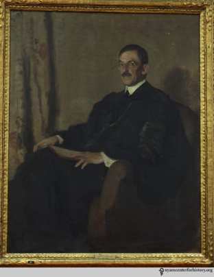 Oil portrait of Hermann M. Biggs by Renwick, held in our Oil Portrait Collection.