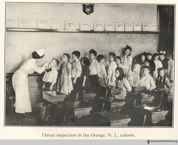 """Throat inspection in the Orange, N. J. schools."" In Gulick and Ayres, Medical inspection of schools, 1917 (2nd ed.), p. 148."