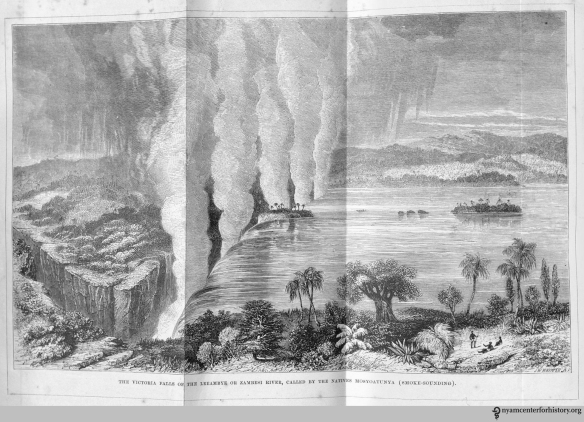 Victoria Falls, , in Livingstone, Missionary Travels and Researches in South Africa, opposite title page.