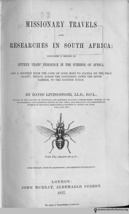 Title page of Livingstone, Missionary Travels and Researches in South Africa.
