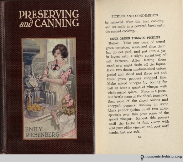 Recipe from Riesenberg, Preserving and Canning: A Book for the Home Economist, 1914.