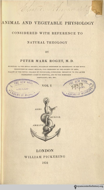 Title page of Animal and Vegetable Physiology, 1834.