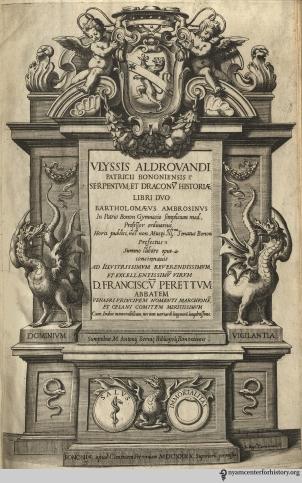 Title page of Serpentum, et draconum historiae libri duo, 1640.