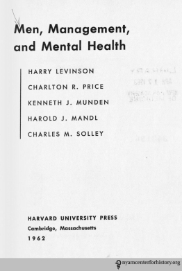 Title page of Men, Management, and Mental Health, 1962.
