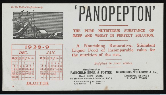 "Calendar blotter for December 1928 and January 1929 issued by Fairchild Brothers and Foster and their UK agents, Burroughs, Wellcome and Co. advertising 'Panopepton' beef extract, ""the pure nutritious substance of beef and wheat in perfect solution"". This would have been one of a series of blotters sent out to members of the medical profession every 2 months. Courtesy of Wellcome Library, London."