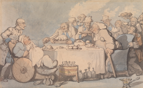 Comforts of Bath: Gouty Gourmands at Dinner (Thomas Rowlandson, 1756–1827). Image via Yale Center for British Art, Paul Mellon Collection, http://collections.britishart.yale.edu/vufind/Record/1669855