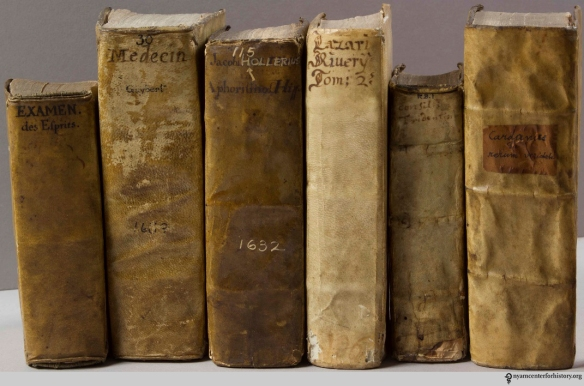 A group of semi-limp parchment bindings in The Academy's rare book collection