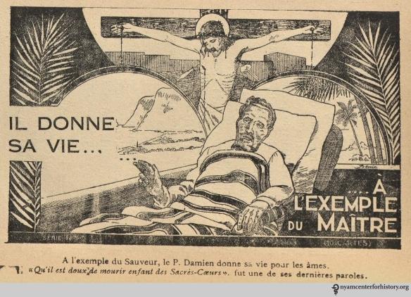 From Alazard, L'apôtre des lépreux, le père Damien, de la congrégation des Sacrés-Coeurs, 1932.