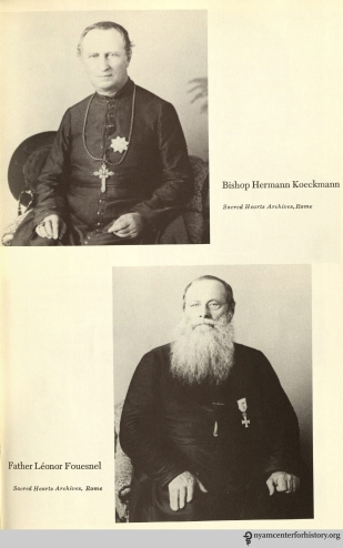 Bishop Hermann Koeckmann and Father Leonor Fouesnel. In Daws, Holy man: Father Damien of Molokai, 1973.