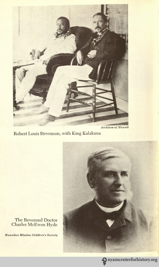 Robert Louis Stevenson and the Reverend Doctor Charles McEwen Hyde. In In Daws, Holy man: Father Damien of Molokai, 1973.
