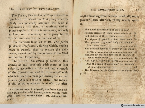 Pages 34-35 of Kitchiner, The Art of Invigorating and Prolonging Life, 1823 edition.