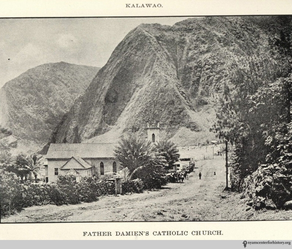 Father Damien's Catholic Church. In The Molokai settlement (illustrated) Territory of Hawaii: Villages Kalaupapa and Kalawao