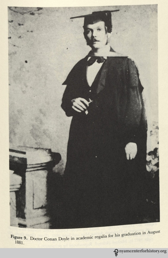 Doctor Conan Doyle in academic regalia for his graduation in August 1881. In Rodin and Key, Medical Casebook of Doctor Arthur Conan Doyle: From Practitioner to Sherlock Holmes and Beyond, 1984.