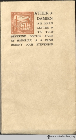 Cover of Stevenson,  Father Damien: An Open Letter to the Rev. Dr. Hyde of Honolulu,  1909.