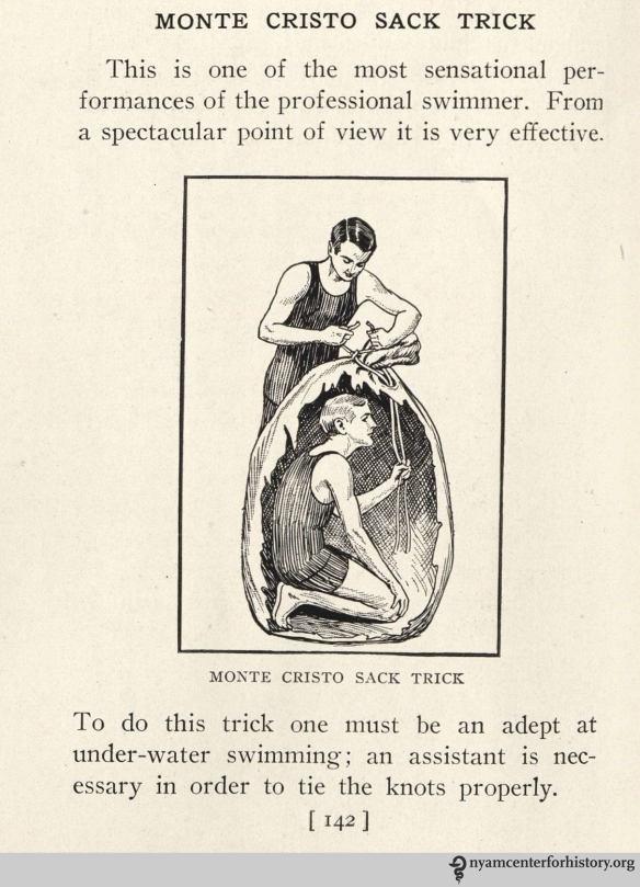 The Monte Cristo Sack Trick. Dalton, Swimming Scientifically Taught, 1918, p. 142.
