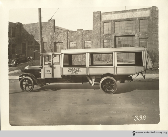 New York City garbage truck circa 1930.